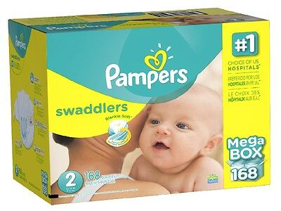 Pampers Swaddlers Diapers Size 2 (12-18 lbs) 162 Ct - Brand New Item