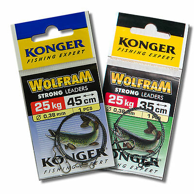 Fishing Wire Traces 25kg 55lb 35 45cm Leader Tungsten Pike Sea Fishing Tackle