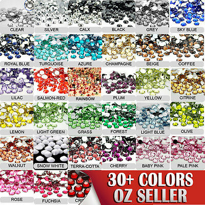 5-6mm ARCYLIC FLAT BACKED RHINESTONES ASSORTED COLOURS/SIZES NAIL ART CRAFT