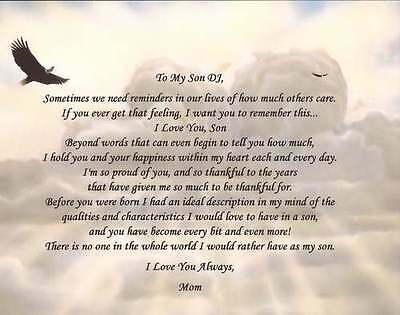 Personalized Poem for Son Custom Gift from Mother Father Parents Any Occasion