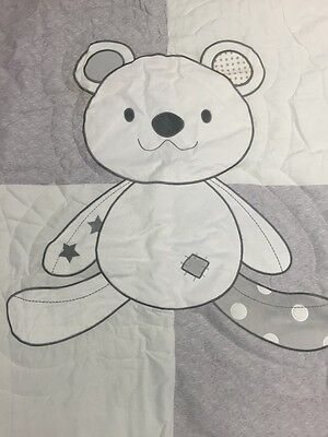 SILVER GREY Teddy Bear COT/TODDLER BED SHEET SET & QUILT/COMFORTER BNIP
