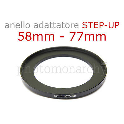 Anello STEP-UP adattatore da 58mm a 77mm filtro - STEP UP adapter ring 58 77 mm