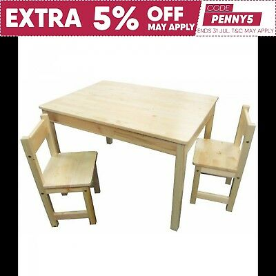 Childrens Natural WOOD Table + 2 Chairs Rectangle Kids Dining Set