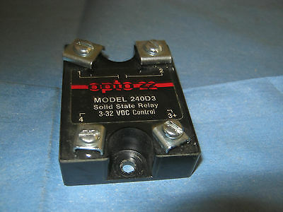 Opto 22 Model: 240D3  Solid State Relay.  3 - 32 VDC Control <