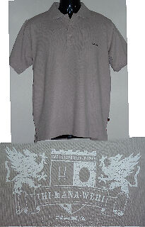 Haka 'Coat of Arms' PALE CEMENT Polo Sizes S, M, L & XL