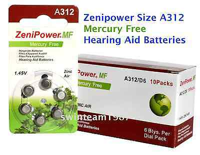 60 Zenipower Hearing Aids Aid Batteries Size 312 Mercury Free NEW Expire 2020