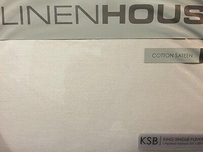 Linen House Ivory King Single Bed Pleated Valance Bnip Cotton Sateen