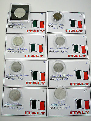 8 Coins Italy Italian 1967 1963 1940 1941 1940 1940 1985 1971 As Pictured Bag 1