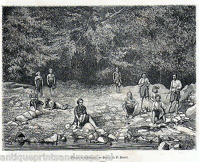 Antique print Formosa Taiwan / Pepohoans Pepohoan fisherman family 1875