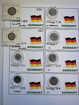 8 Coins Germany German  (As Pictured)  Bag #g1