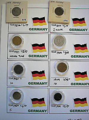 8 Coins Germany German  (As Pictured)  Bag #g2