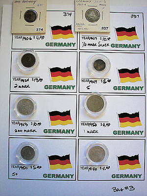 8 Coins Germany German  (As Pictured)  Bag #g3