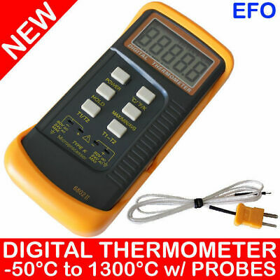 Two K-Type Microprocessor Digital Thermometer + Thermocouple Probes °C / °F 6802