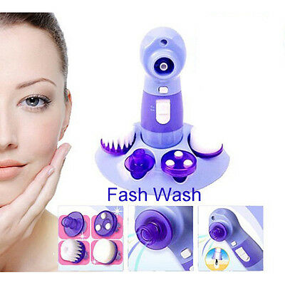 4in1 Face Care Cleaner Pore Blackhead Skin Facial Brush Rotary Scrubber Massager