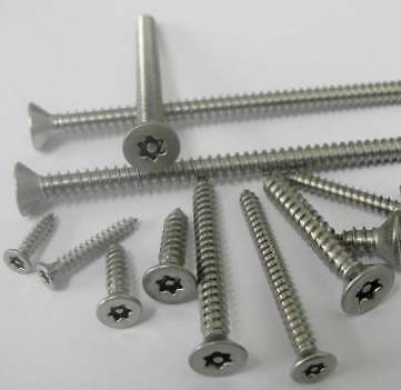 Security Screws Countersunk Head A2 Stainless Steel 6 Lobe Pin Screws  ALL SIZES