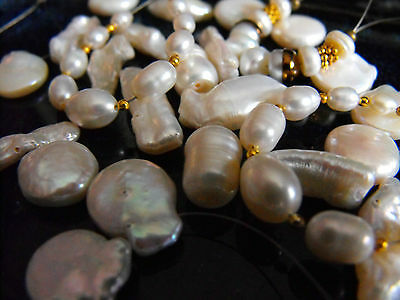 BEAD SETS gemstones BIWA KESHI BAROQUE peanut PEARLS rondelle oval peach white