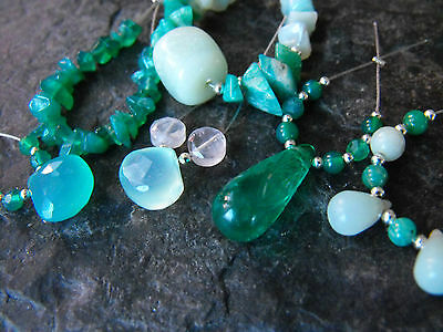 BEAD SETS semi precious gemstones carved briolette green onyx chalcedony chips
