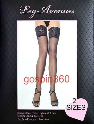 SPANDEX STAY UP 5 Inch LACE TOP SHEER Stockings O/S & PLUS 4 COLORS