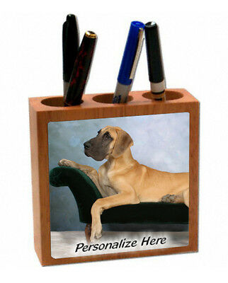 Great Dane   uncropped  fawn color  ( 15 )  Personalized  Pencil and Pen Holder