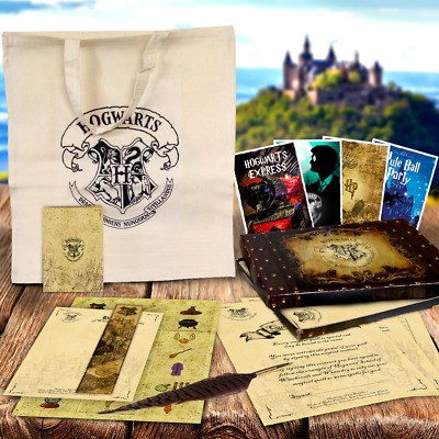Harry Potter QUILL PEN GIFT SET + Hogwarts Tickets, spells, contracts &MUCH MORE