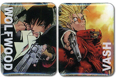 Trigun Vash and Wolfwood 2 Pin Set Licensed Anime NEW
