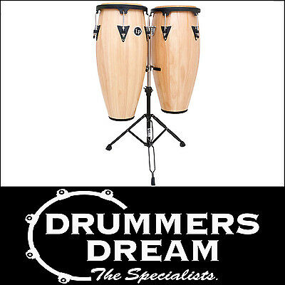 """LP ASPIRE WOOD CONGAS 10""""/11"""" NATURAL FINISH W/STAND RRP $1099 Brand New"""
