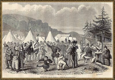 Antique print military camp Sjodalen Norway 1861