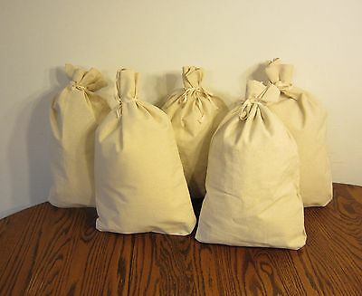 """7 CANVAS COIN BAGS WITH SEWN-ON TIES 12/"""" BY 19/"""" BANK DEPOSIT BAG CHANGE SACK"""