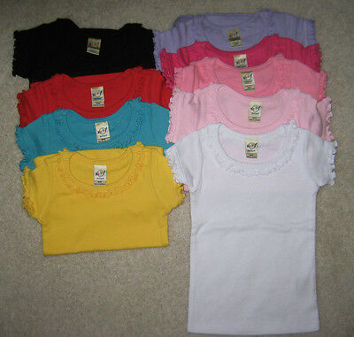 Blank Ruffle Trimmed Girls T Shirt 100% Cotton Transfer Embroidery Crafts COLORS