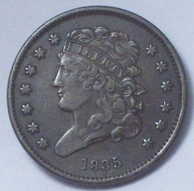 1835 HALF CENT Classic Head *RARE* Strong XF+ DETAILING Authentic Colonial Coin
