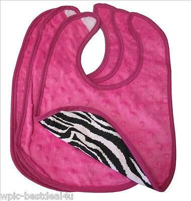 Sisi Baby Boutique - Hot Pink Minky and Zebra Baby Bibs - Set of 3