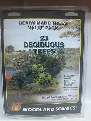 "Woodland Scenics #1571 Ready Made Trees (23) 2"" - 3"" Mixed Green Deciduous - New"