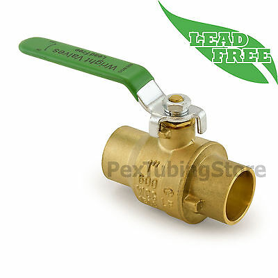 "(10) 1"" Sweat (CxC) Lead-Free Brass Ball Valves, Full Port 600psi WOG"