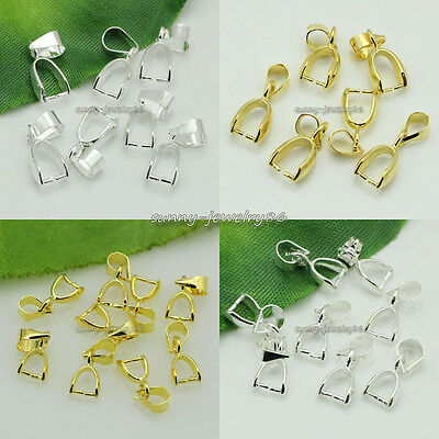 80pcs Silver/Gold Plated Pendant Pinch Bails Connectors 14mm,16mm,20mm,24mm SF11