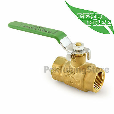 "3/4"" NPT Threaded Lead-Free Brass Ball Valve, Full Port, 600psi WOG"