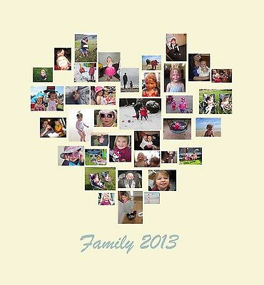 Photo Collage Canvas Family Tree Heart Shape Collage