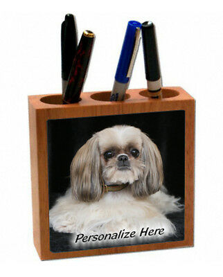 Shih Tzu   tan & white color  ( 26 )  Personalized Pencil and Pen Holder
