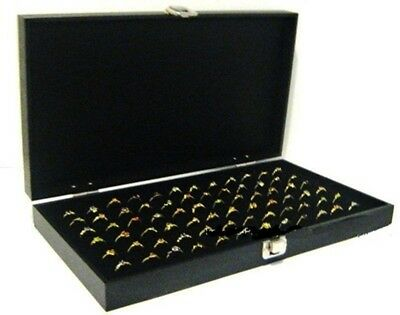 Key Lock Locking Solid Top Lid 72 Ring Black Jewelry Display Box Storage Case