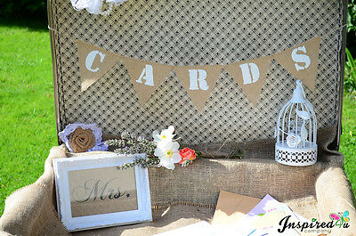 Cards Banner Bunting Suitcase Size Burlap Hessian  Rustic Shabby Wedding Vintage