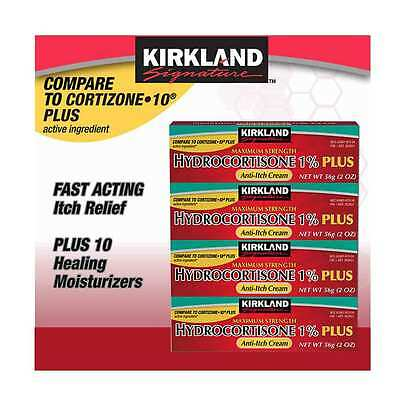 Kirkland Hydrocortisone Cream 1% with Aloe Relieves Itch Fast 2 oz ea. x 4 Tubes