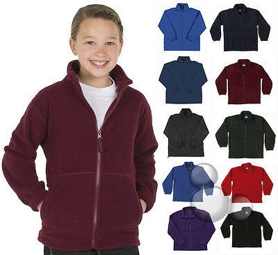 Kids Polar Fleece Zip Jacket Size 4 6 8 10 12 14 School Winter Warm