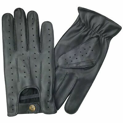 New top quality real soft leather men's driving gloves retro style black 7011