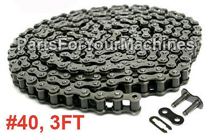ROLLER CHAIN, STANDARD, #40, W/ ONE CONNECTING LINK, 3 FT., MINI BIKES, CH-40DD