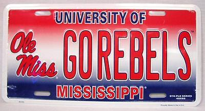"""University Of Mississippi Ole Miss """"go Rebels"""" Car Truck Auto Tag License Plate"""