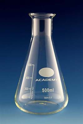 50ml GRADUATED Erlenmeyer Flask Borosilicate GLASS CONICAL BEAKER Narrow Neck
