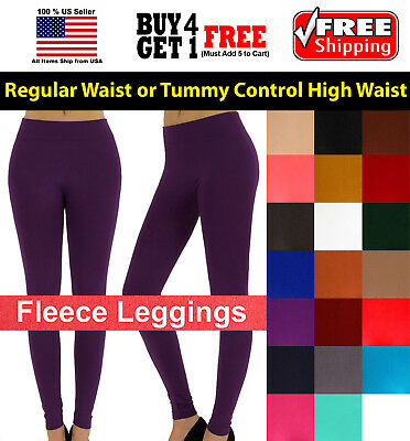 Women Fleece Brush Lined Winter Thermal Footless Ankle Length Leggings ONE SIZE