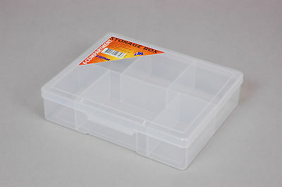 Fischer Plastic Products 6 Compartment Storage Box Medium 1H-038 Clear