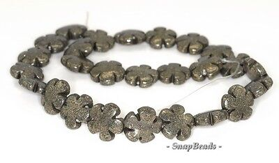 """PALAZZO IRON PYRITE GEMSTONE CARVED FLOWER FLORA ROSE 14MM LOOSE BEADS 6/"""" 6BEADS"""