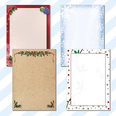 25x A4 Christmas  Menus Borders Blanks Notes Sheets Cards 4 Designs 160gsm