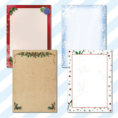 25x A5 Christmas Dinner Lunch Menus Borders Blanks Notes Sheets Cards 4 Designs